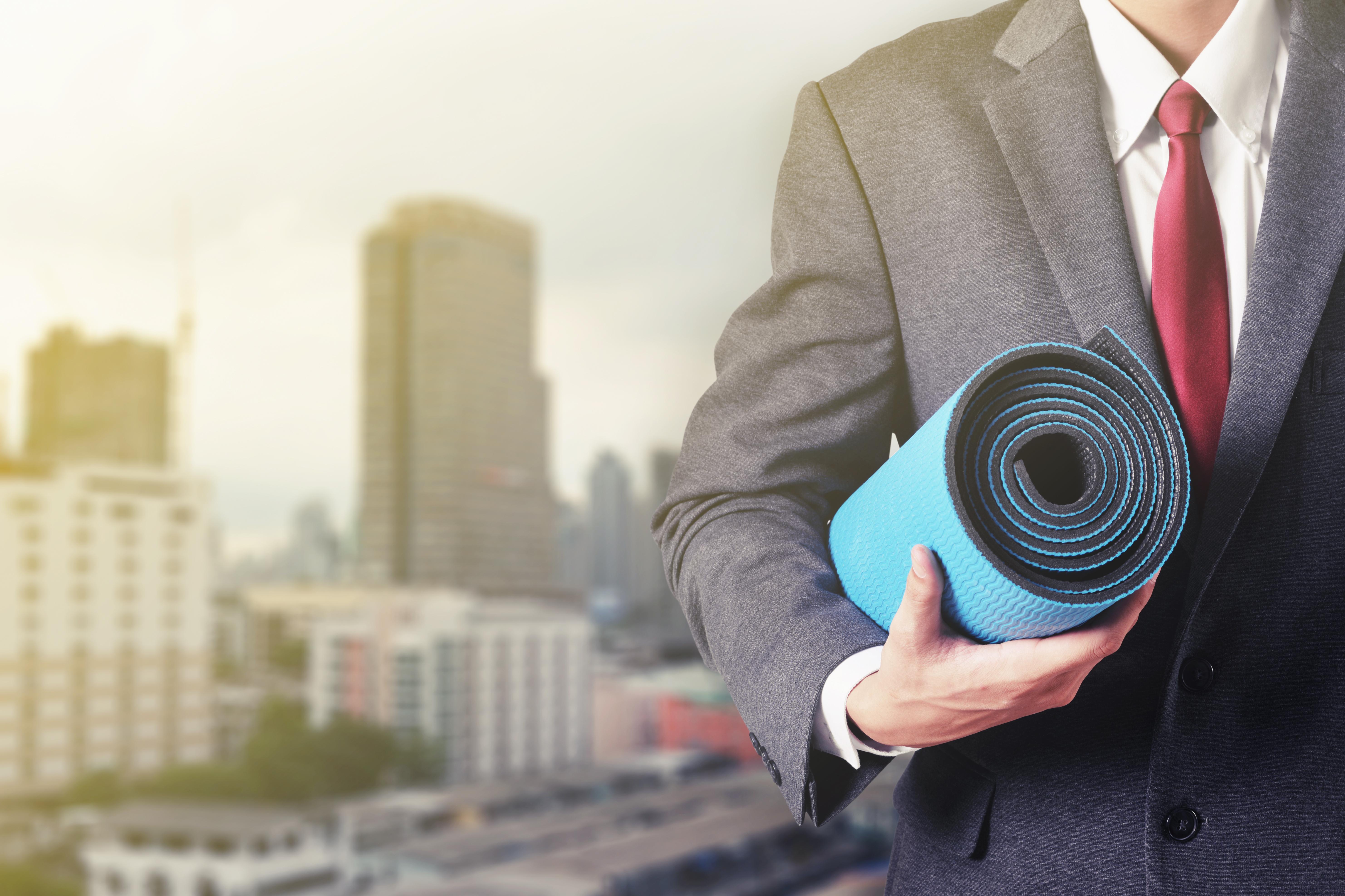 Business man yoga mat
